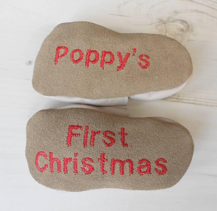 Personalised reindeer baby shoes