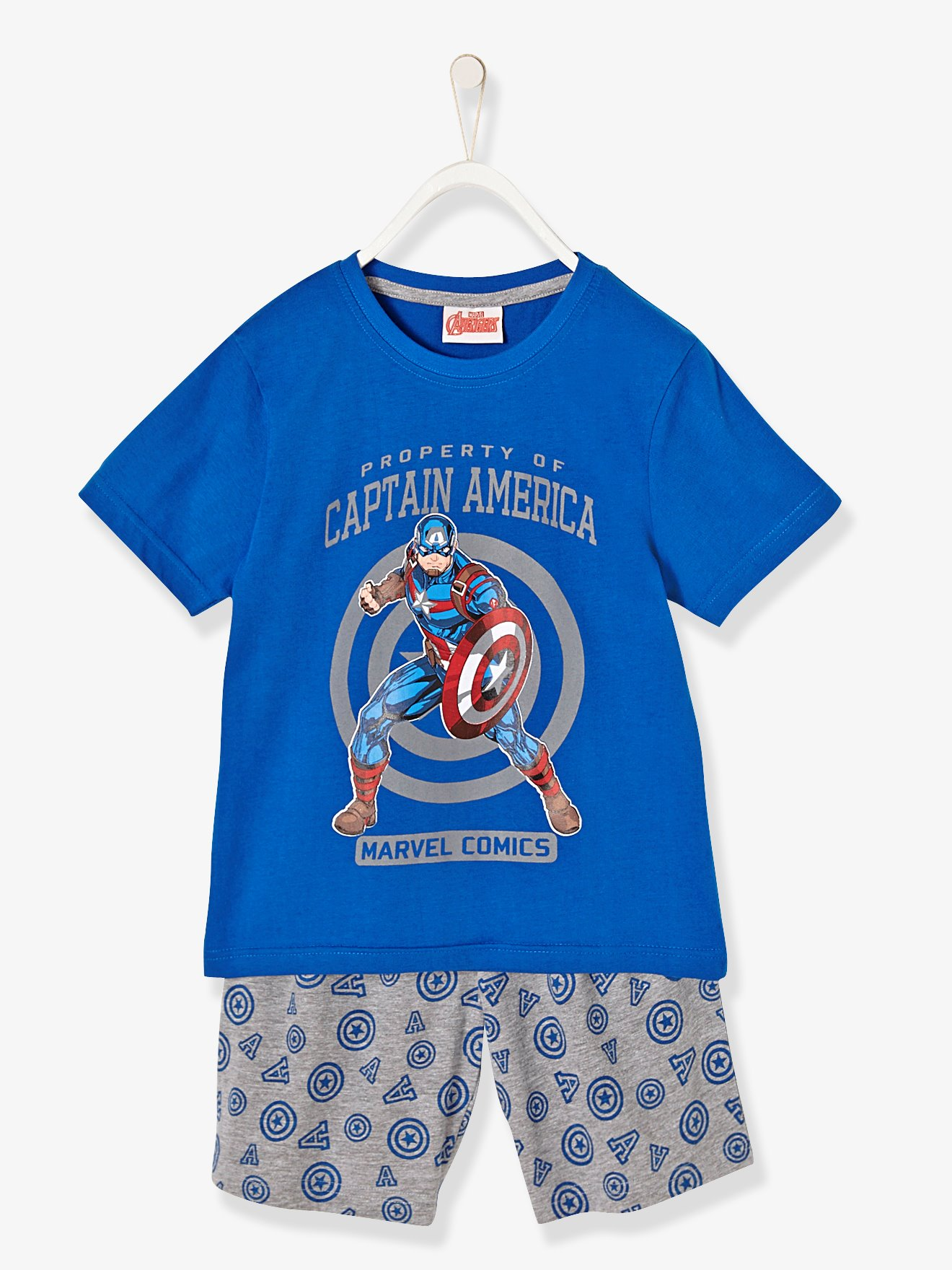 Vertbaudet - Boys-printed-pyjamas-with-shorts-the-avengers