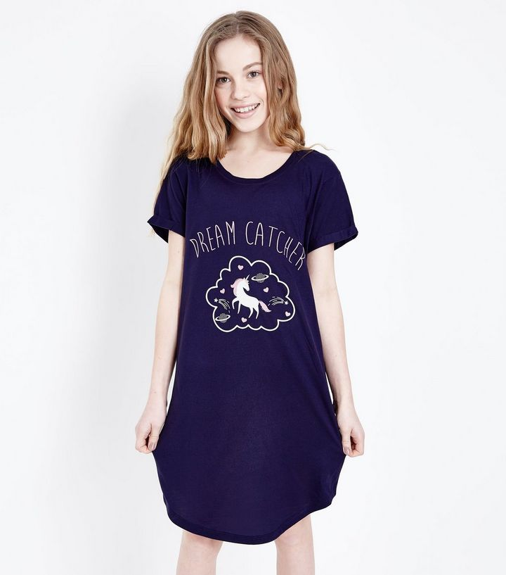 New Look - Teens-navy-unicorn-print-nightshirt-