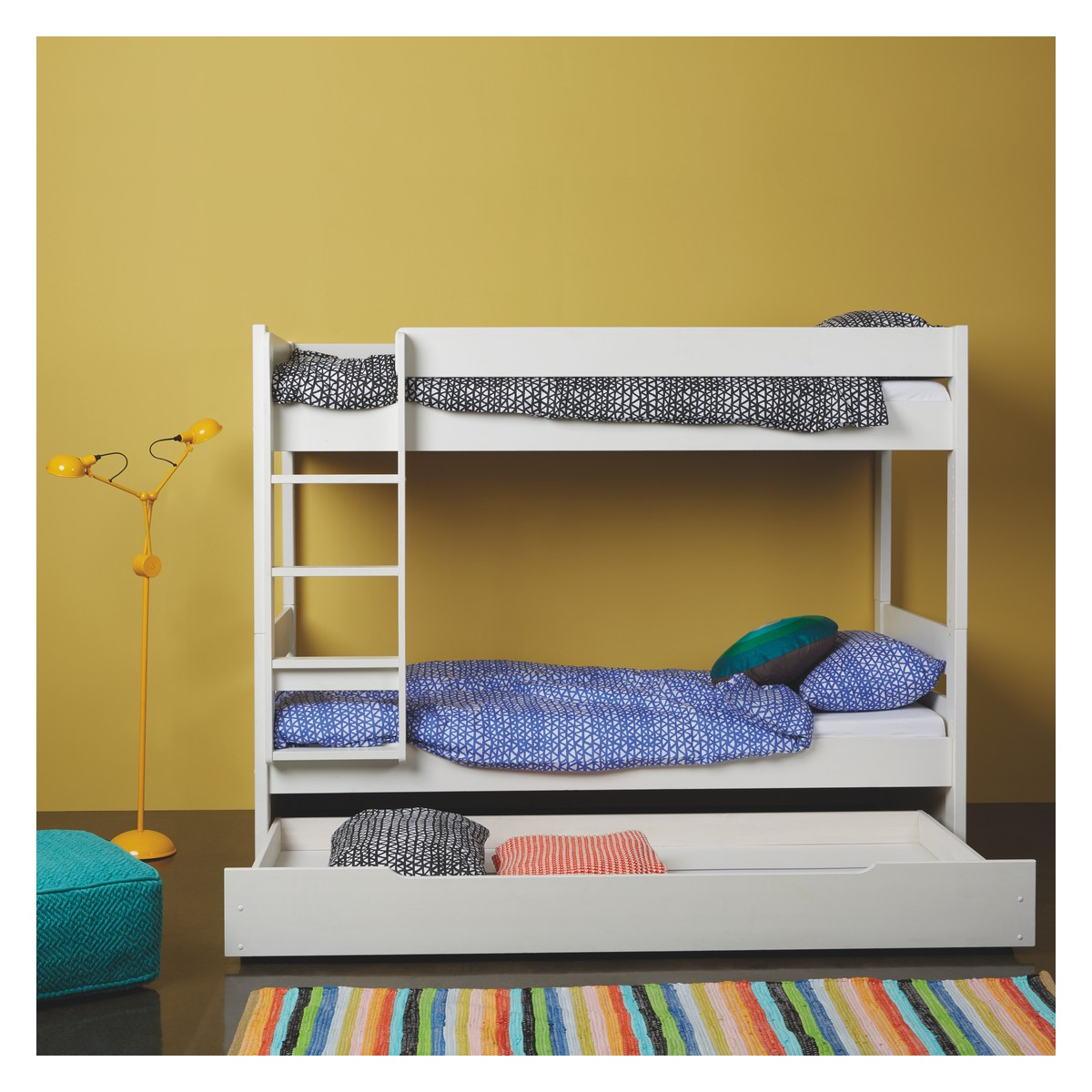 Kids' White EU Single Detachable Bunk Bed With Storage