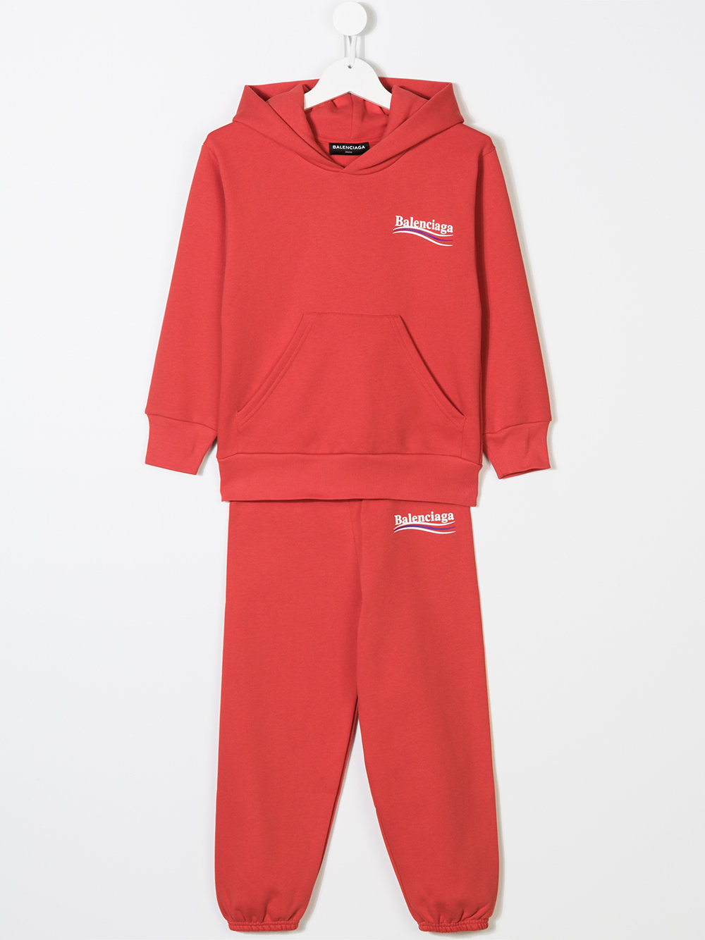 Red logo tracksuit hoodie from Balenciaga Kids