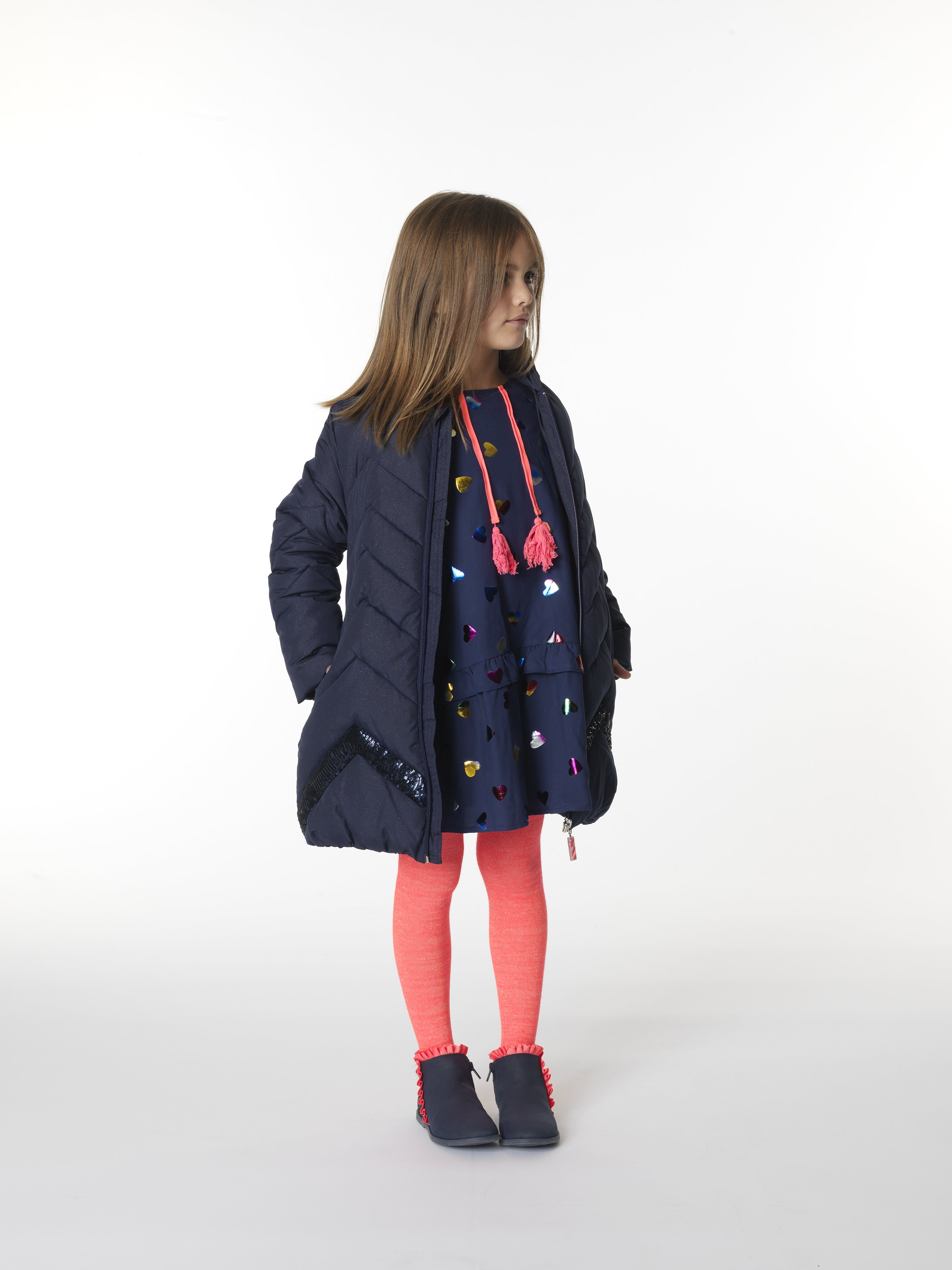Billie Blush Girls Navy Glitter Coat