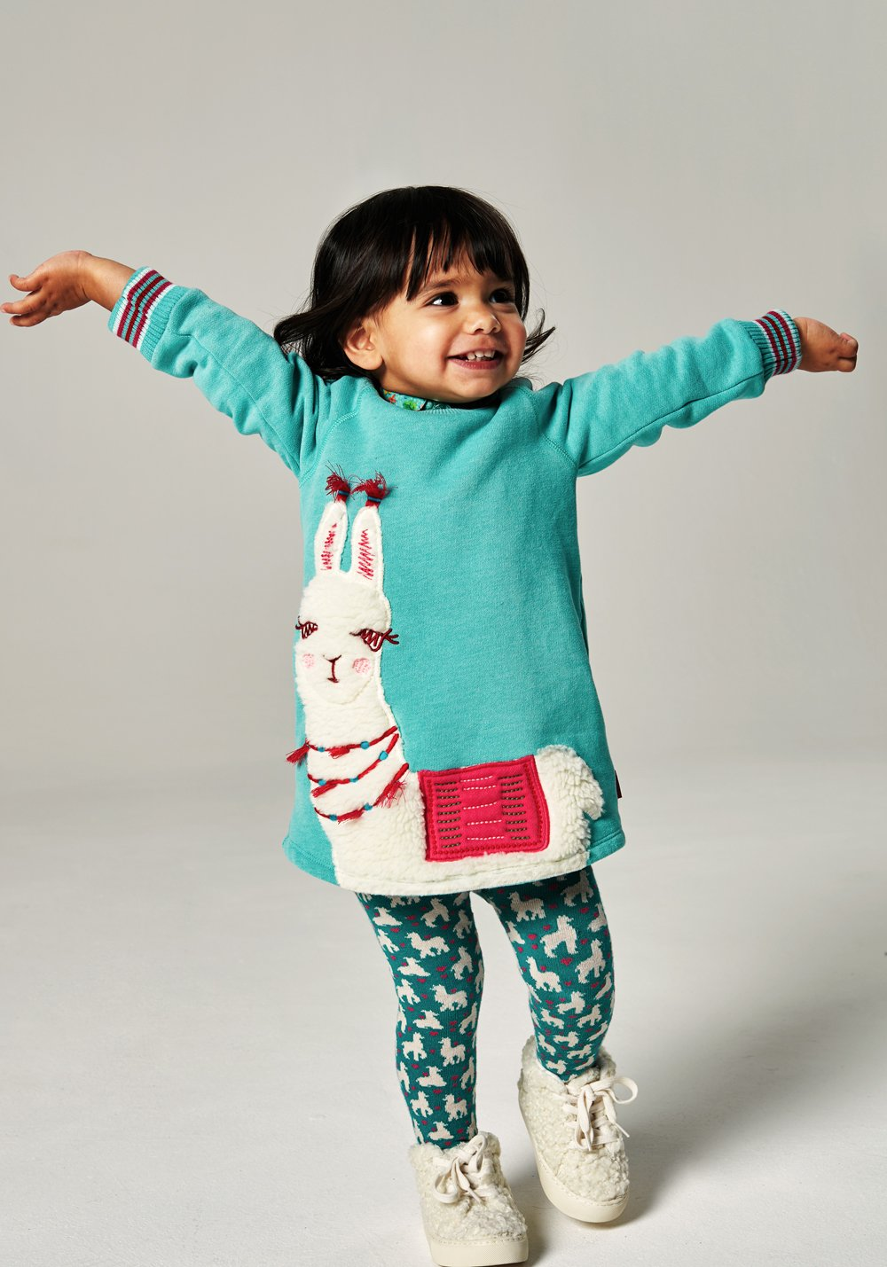 Oilily Girls Hippel Llama Green Sweat Dress