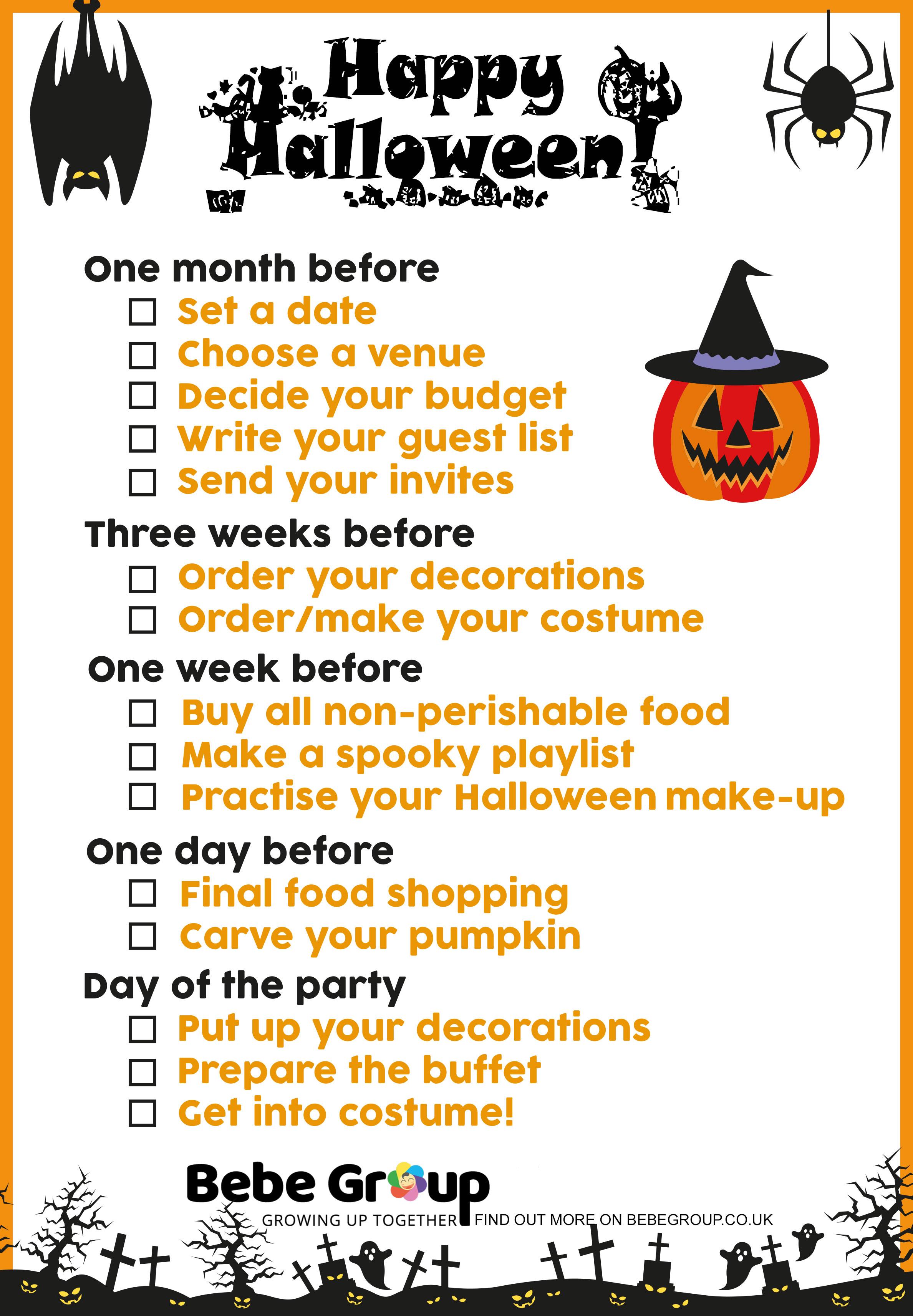 halloween party checklist - bebe group london
