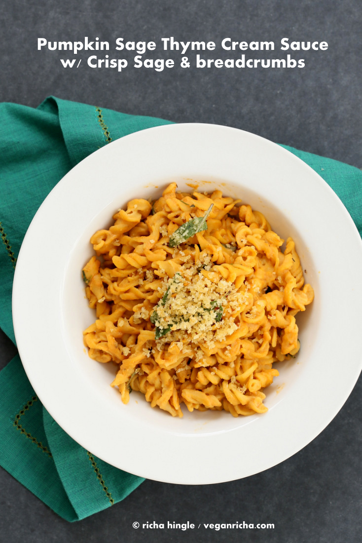 Vegan pumpkin sage pasta